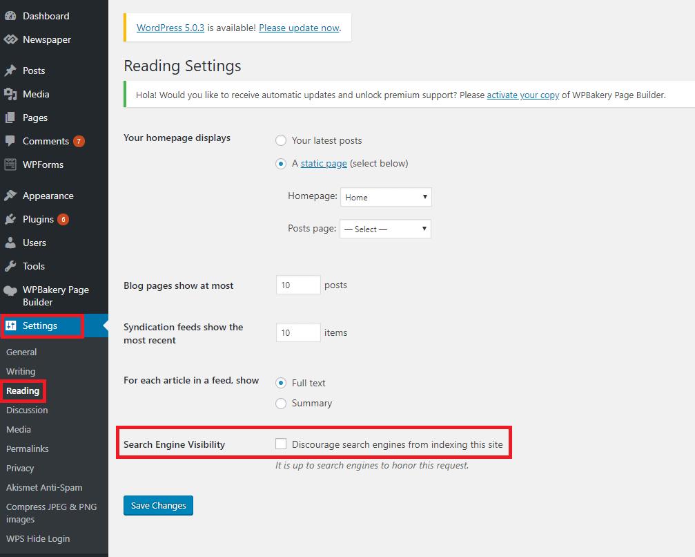 WordPress Visibility Settings